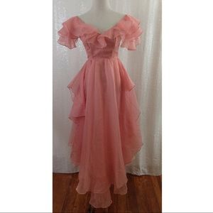 Vintage Pink long flowy chiffon dress